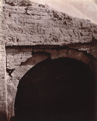 Close view of arch in ruined cloisters dug up near the Indpai or Indappe Tope, Jamui, Monghyr (Munger) District